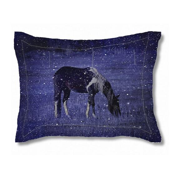 Standard Pillow Sham King Pillow Sham Horse Decor Paint