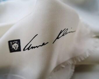 Ivory silk neckerchief,vintage silk scarf, Anne Klein silk square, designer silk scarf, cream silk, square silk kerchief,