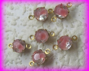 Crystal Rare Givre Pink Rose Rhinestone Round 12MM 2 Ring Brass Setting Connector