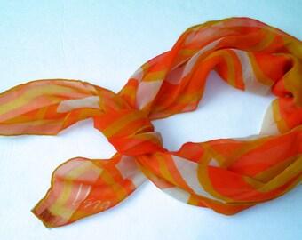 Vera Circles Orange Yellow White Sheer Silk Scarf