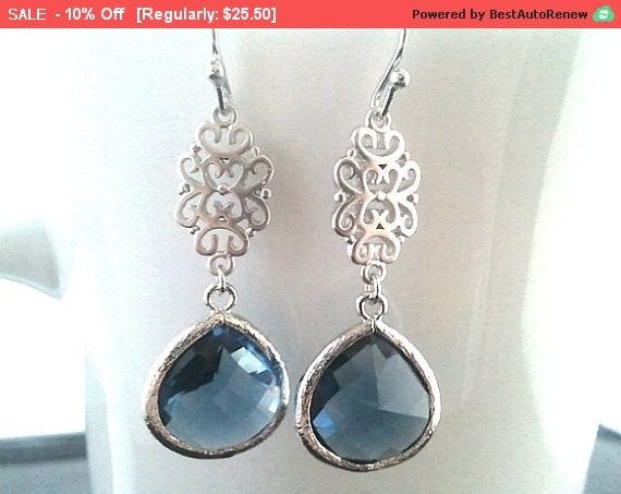 Sapphire blue Silver Earrings, Navy Dangle earrings, Drop,Wedding Earrings,Gemstone,Bridesmaid Earrings, Wedding Jewelry