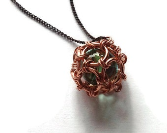 Copper Dodecahedron Marble Cage