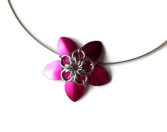 Hot Pink Chainmaille Flower Necklace