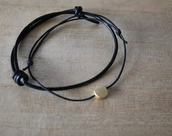 NEW Gold dot bracelet layering set of 2 - layering, minimalist, modern, jewellery, thick black leather cord, think black wax cord