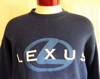 vintage 90's Lexus navy blue fleece graphic sweatshirt white puffy print blue car automobile big logo print crewneck pullover jumper XL