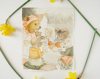 Original Painting: An Afternoon of Hygge - children's illustration, nursery, home decor, wall art, Scandinavian, Nordic, cozy, animals, bear