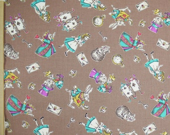 Lecien Japanese Fabric / Alice in Wonderland Fabric Brown
