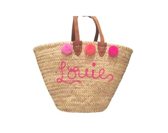 Straw Over the Shoulder bag with Leather Straps, Custom Script Name and Pompoms
