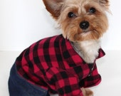 Country Dog Pajama Onesie, XS S M L - Adorable onesies for dogs with denim bottoms and red / black plaid top. Fashion Dog Clothes