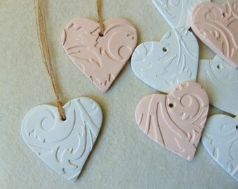 Clay Wedding Favors, 20 Wedding Ceramic Hearts Favors, Powder peach Clay Hearts, Shower Favor,