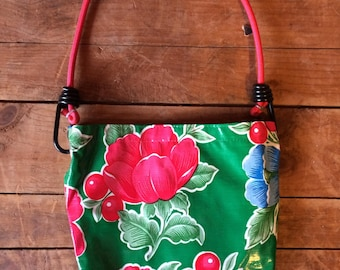 Oil cloth purse with cherries and flower design