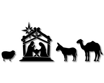 Jesus Mary and Joseph Christmas  Nativity Stencil