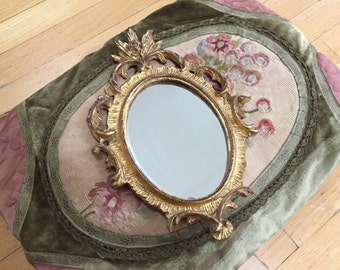 ITALIAN FLORENTINE MIRROR - Scrolly Ornate Mirror - Balsa Wood - Florentia - Gold - Gilt - Gilded Small - Hand Made In Italy