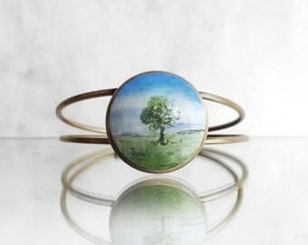 Lonely Tree Painting Charm Bracelet, Hand Painted Bracelet, Landscape Art Jewelry, Original Miniature Painting Jewelry, Handmade by Artdora