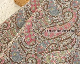Vintage Paisley Floral Cotton Fabric, Vintage Pink Blue Paisley Flower Fabric  - 1/2 yard