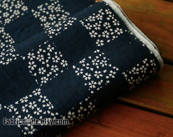 Vintage Style Kimono Cotton Fabric, Tiny White Cherry Blossom Flower Plaid on Navy Blue Cotton Fabric- 1/2 yard -1/2 yard
