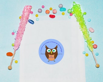 Owl Birthday Favor Bags, Personalized Treat Bags, Zoo Birthday Party Favors, Animal Zoo Party Bags, Treat Favor Bags