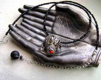 vintage perfume bottle pendant necklace on black crystal choker necklace, vintage filigree perfume bottle, ooak scent bottle, AnvilArtifacts