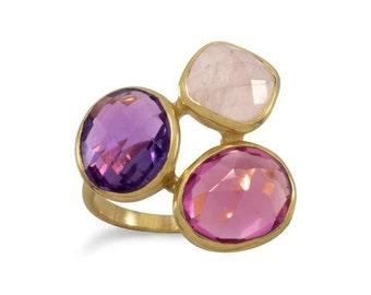 14 Karat Gold Plated  Multistone Ring 83684, Amethyst ring, rose quartz ring, pink ring