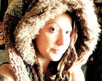 Custom Power HeadyHoody, spirit hood, hooded scarf, snood, festival, faerie hood, pixie hood, elf hood