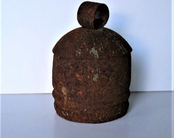 """Large Old rusty Cow Bell, wind chime, wood clacker, 6 1/2"""" tall, Rustic Farmhouse , gift idea"""