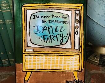 Retro TV   dance party   fun art   vintage inspired art   indie art   8x10 print   retro inspired art   retro rewind
