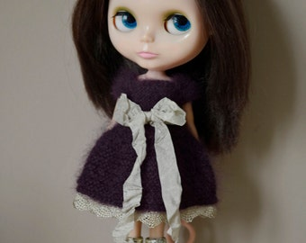 Angora purple and gold dress set for Blythe. Licca, Dal or similar sized dolls