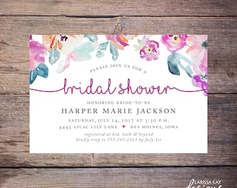 Watercolor Floral Bridal Shower Invitation, Floral Wedding Shower Invite Modern Watercolor Flowers Wedding DiY Printable- Harper