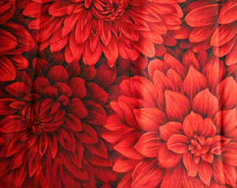 The Woodrow Studio Blooming Glory Cotton Fabric, Red Dahlia, Fat Quarter