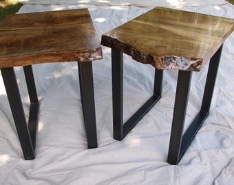 Live Edge Walnut End Tables