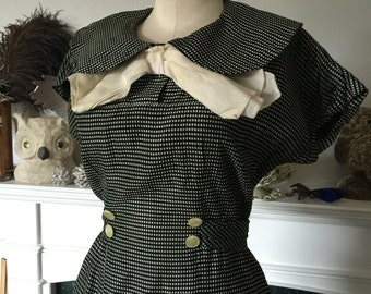 30s 40s Bow Neck Gingham Day Dress