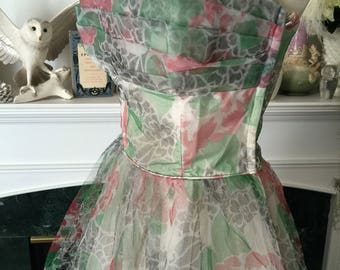 5Os Rose Printed Tulle Party Dress