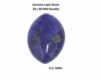 100% Natural Lapis Cabochon 20 x 30 MM Navette (Pack of 1)