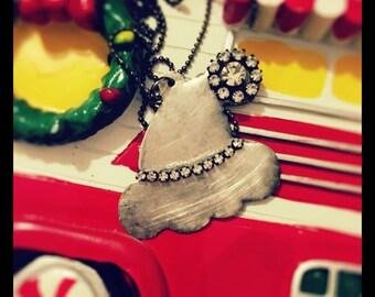 Hamd soldered Santa hat neckkace