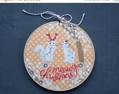 SALE / Meowy Christmas, Modern Christmas Embroidery, Embroidery Art, Cat Art, Cat Christmas, Cat with Antlers, Christmas Decor, Hoop Art, St