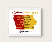 Personalized University of Iowa Hawkeyes/Iowa State University Cyclones House Divided Print or Canvas in watercolor