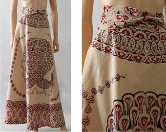 1970 Blockprint Indian Cotton Wrap maxi Skirt Peacock /70s blockprint indian skirt