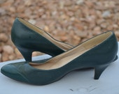 Green Shoes, Size 8, Dark Green Women's Heels, Vintage Shoes, Hush Puppies Green Vintage Women's Heels, Women's Pumps, Ladies' Shoes 8 M