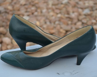 Green Shoes, Size 8, Dark Green Women's Heels, Vintage Shoes, Hush Puppies Green Vintage Women's Heels, Women's Pumps, Ladies' Shoes 8 M