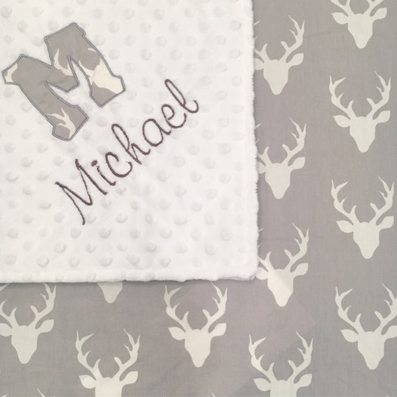 Personalized Mink Baby Blanket - Antlers