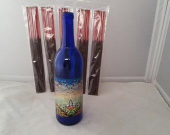 Glass bottle incense holder (Tranquil and Meditate )  w/ 100 incense