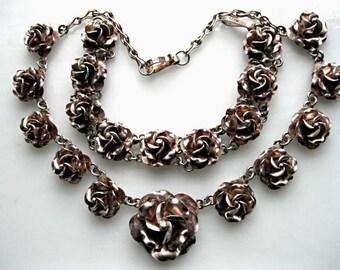 Sterling Roses Choker Bracelet, Taxco 925 Mexico Vintage Pair, 3D Handwrought Rose Blossom Bud Medallions, Silver Flower Links