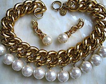 Pearl Drops Chain Choker, Vintage Erwin Pearl Huge Faux Pearls, Heavy Curb Chain Links Collar, Dangle Swing Globe Earrings, Winter Holiday