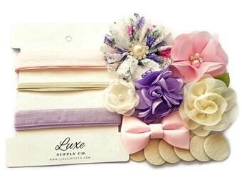 DIY Headband Kit - Pastel Lavender, White, Pink, Ivory - Baby Headbands - Makes 6 headbands! Baby Shower Headband Station - Floral - SHK1125