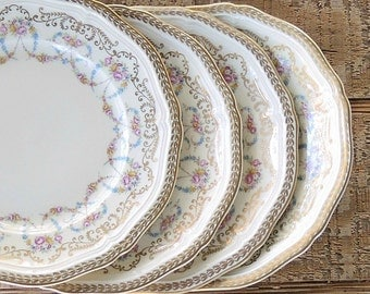 Antique Rosenthal Majesty Bread & Butter Plates Set of 4 Chippendale Plates, Romantic Cottage Style, Ca. 1940's