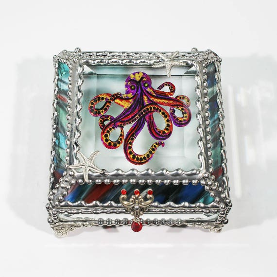 Octopus Carved Glass Jewelry Box -  Faberge Style Treasure Box