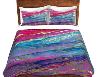 AGATE MAGIC Aqua Pink Red Lavender Art Marble Duvet Covers King Queen Twin Decor Bedding Chic Abstract Colorful Girly Geological Bedroom