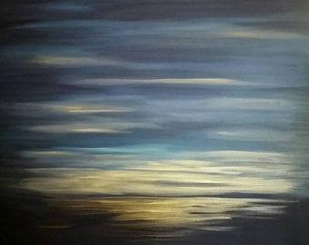 "Original Seascape Painting ""Twilight"" 30"" x 30"" ~ Free US Shipping"