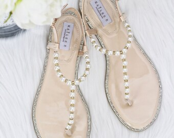 Women Pearls Flat Sandals NO BOW - White and Nude Patent Pearl/Rhinestones flat sandal. Perfect for brides, bridesmaid gifts, wedding party