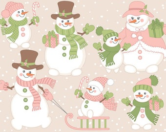 70% OFF SALE Snowman Clipart - Digital Vector Christmas, Xmas, Winter, New Year, Snowmen Clip Art